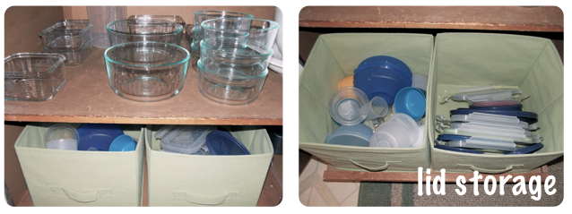 We keep our containers and lids separate and it makes it so much easier to find everything