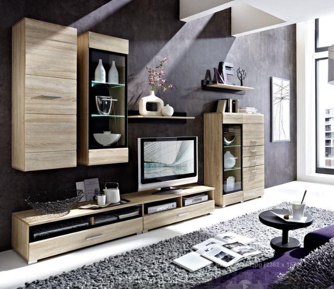 Elegant JULIANA Wohnwand I Eiche/Glas Schwarz   Natürliches Design #living #moebel  #wohnzimmer