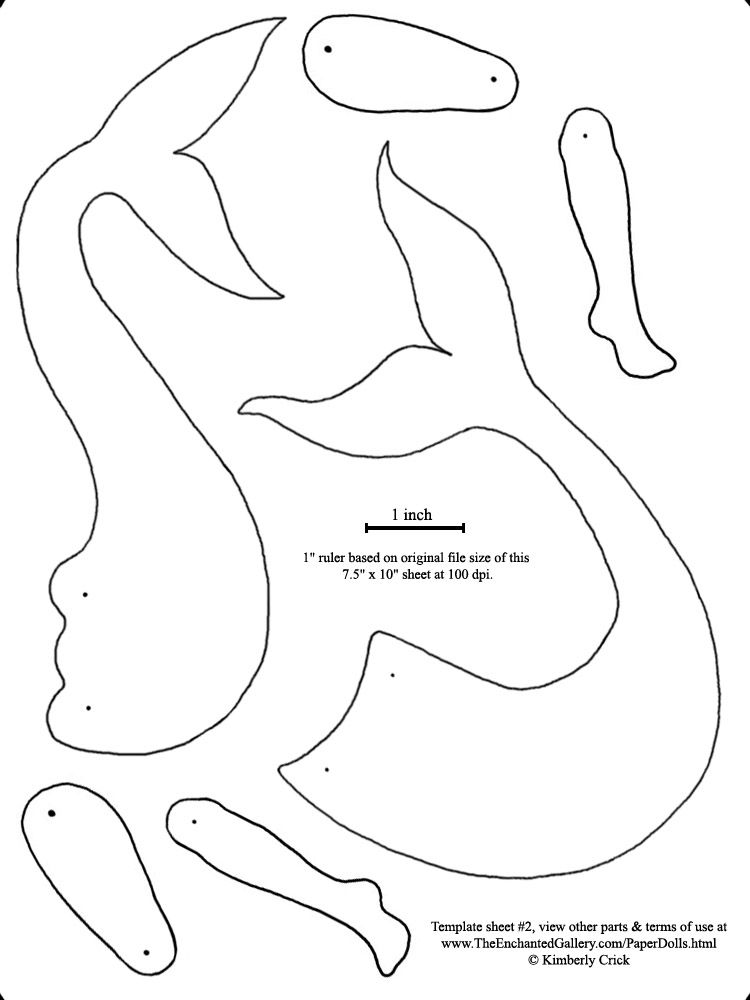 Mermaid Tails Art Doll Template Paper Print cut out
