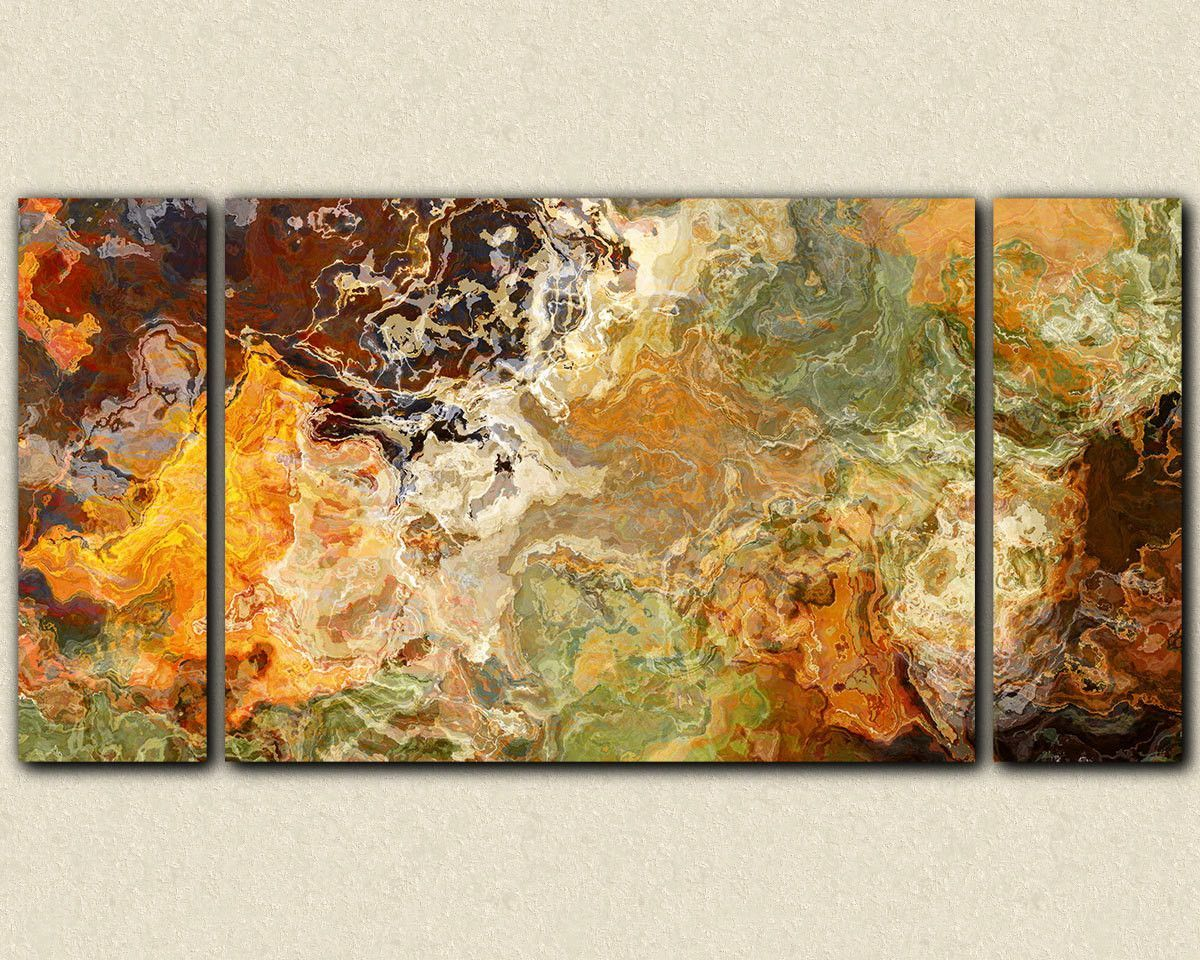 Oversize triptych abstract art stretched canvas print, 30x60 to ...