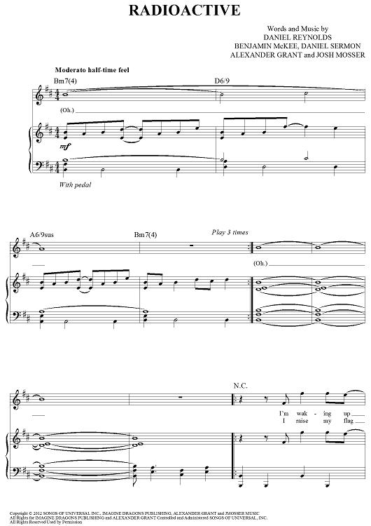 Radioactive Sheet Music Ibovnathandedecker