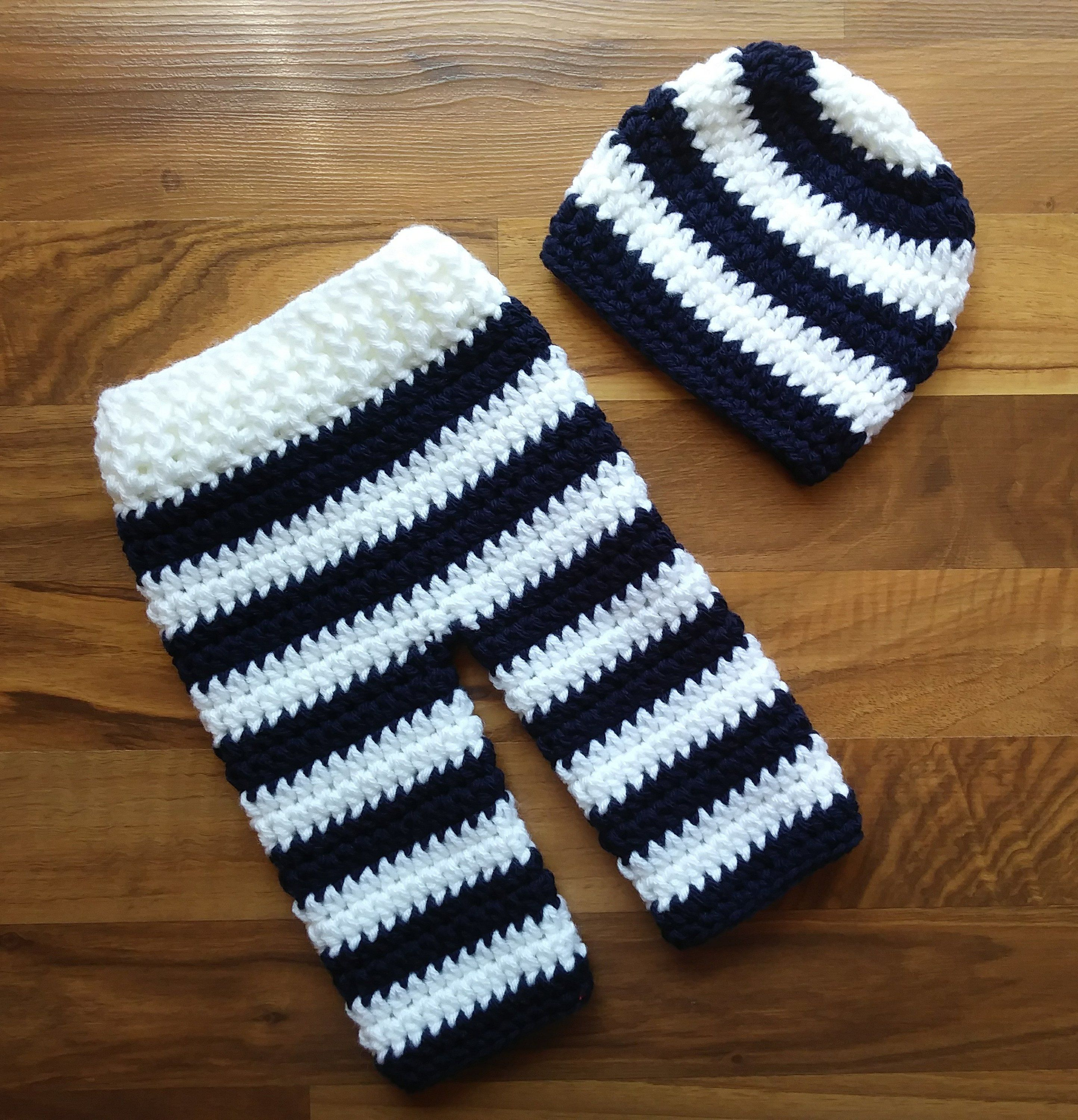 f1b5bf8bb Crocheted Baby Boy Hat and Pants Set ~ Dark Navy Blue & White Wide Stripes  ~ Shower Gift ~ Newborn Size (0 - 2 Month) ~ MADE TO ORDER by  KaraAndMollysKids ...