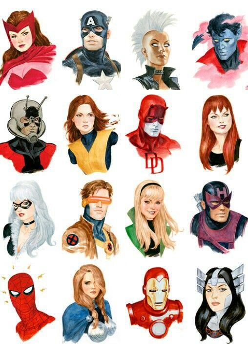 Marvel headshots by Paolo Rivera