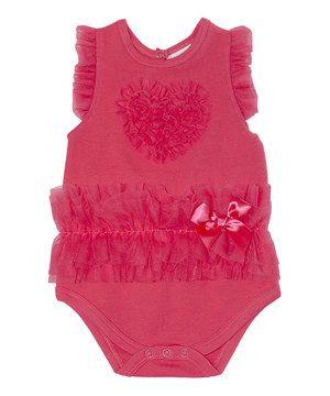 Look at this #zulilyfind! Watermelon Ruffle Heart Bodysuit by Kyle & Deena #zulilyfinds