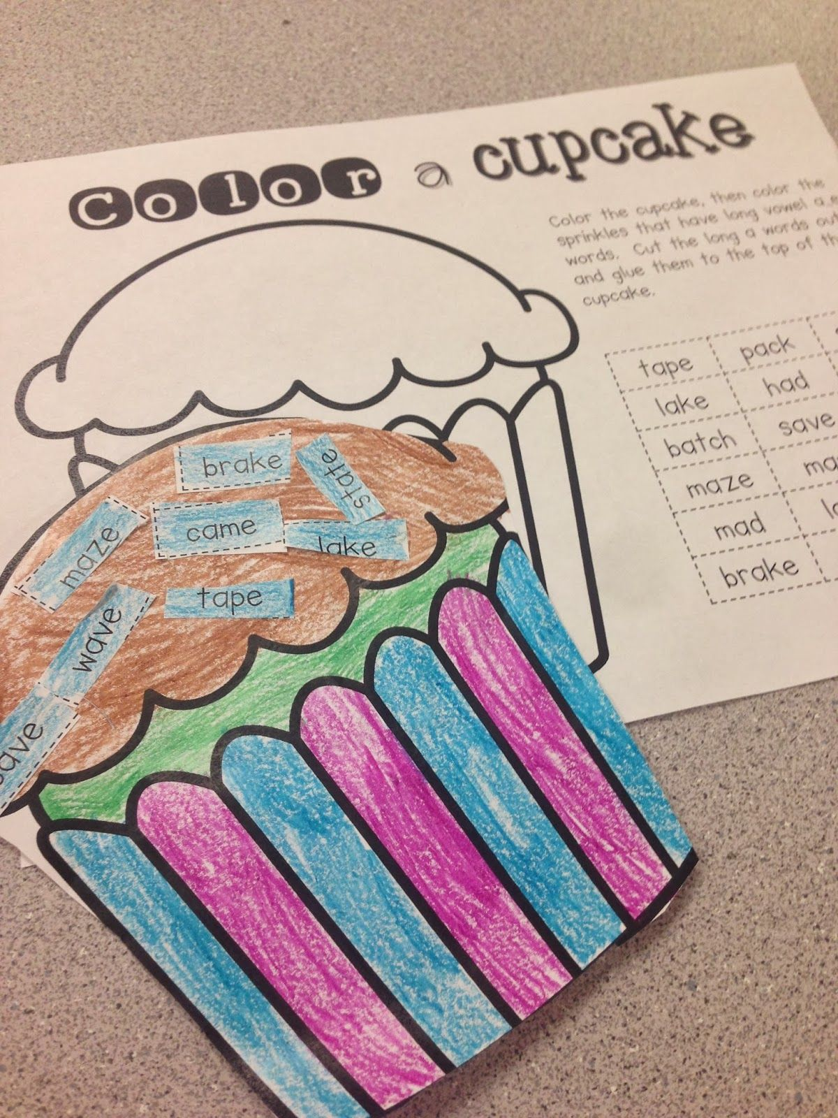 Long Vowel A Cupcakes Freebies First Grader Last