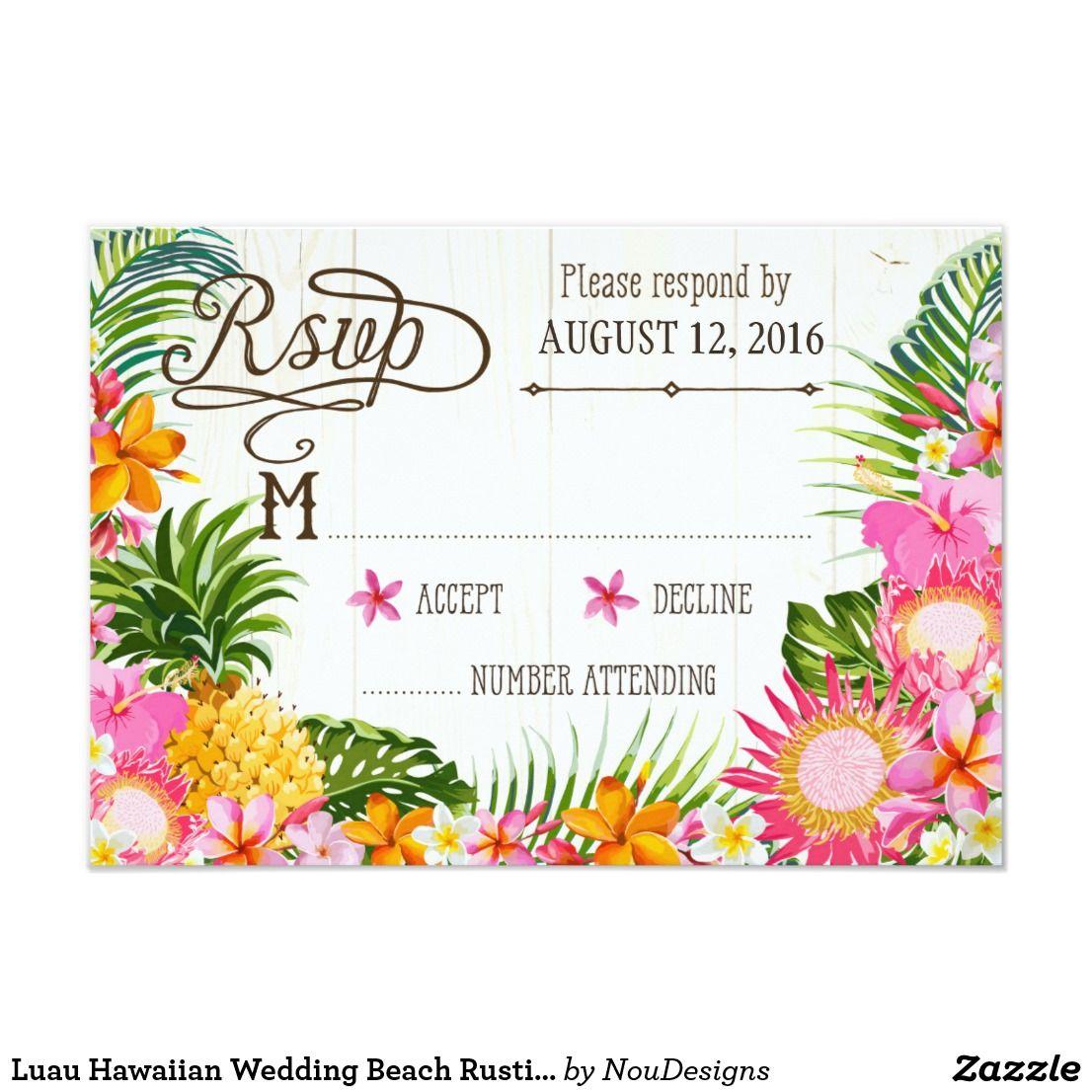 Luau Hawaiian Wedding Beach Rustic Beach RSVP Card | Beach Wedding ...