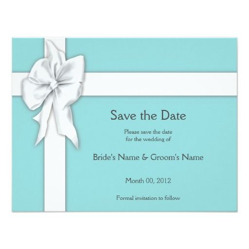 Blue Gift Box Save the Date Card Announcements #wedding #tiffany #savethedate