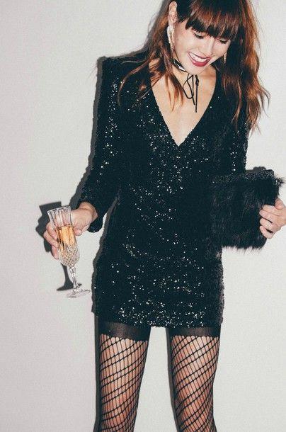Dress Tumblr Black Mini Little Black Sequins Sequin V Neck V Neck