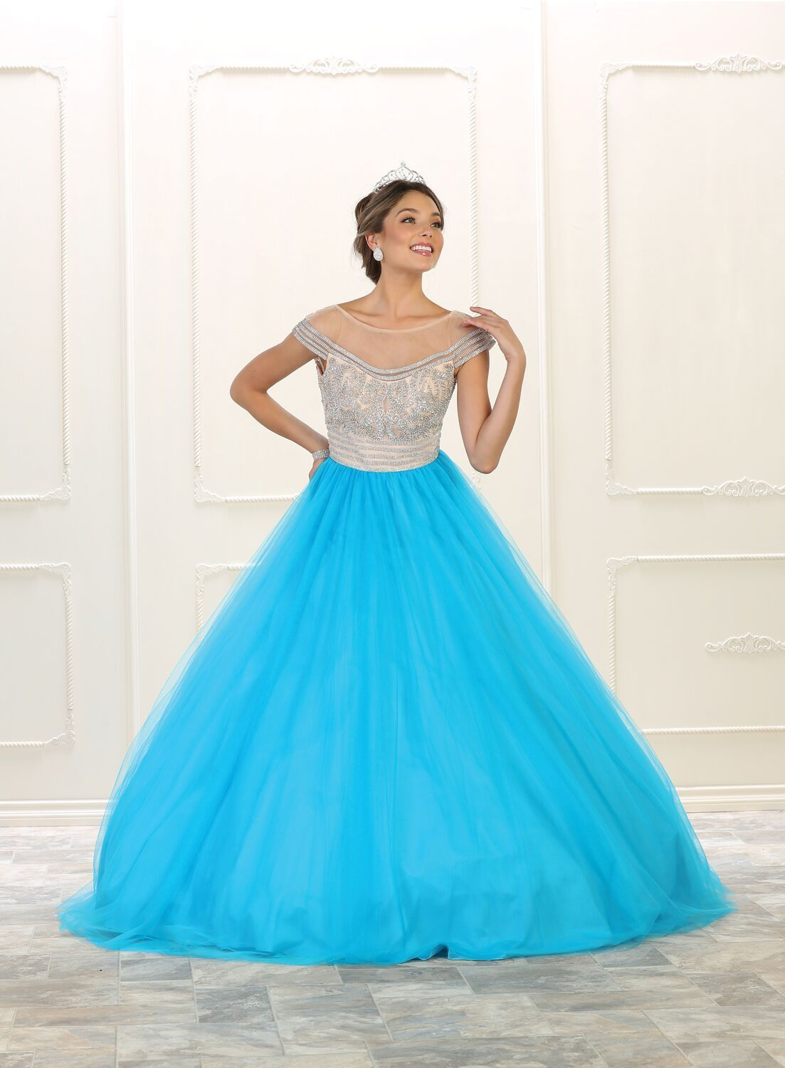 Long quinceanera prom dress sweet ball gown mesh material