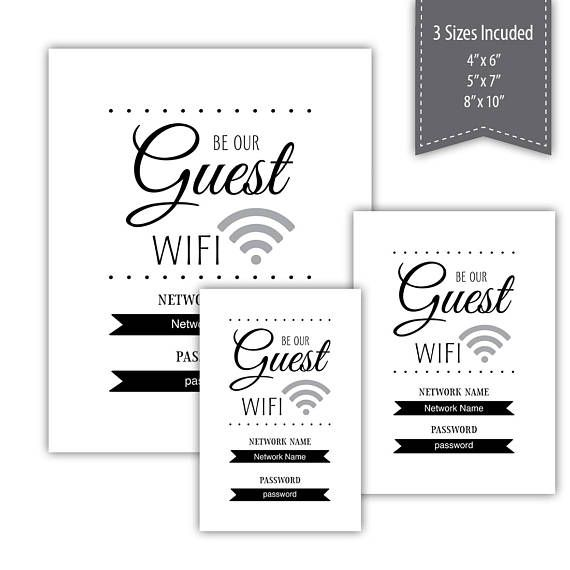 Be Our Guest Wifi Password Sign Pdf Template Printable