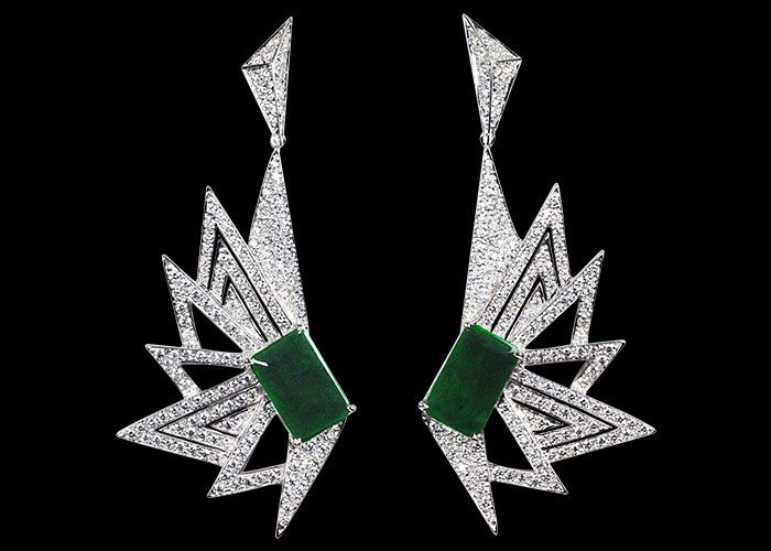 KAVANT SHARART - jadeite diamond earrings