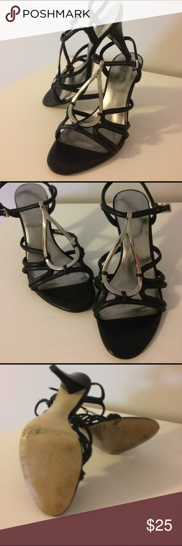 Nine West Heels Excellent condition, no scuffs or rips in front or heels. Has been worn a lot but lots of life left. Nine west black and silver ankle strap shoes with tear drop silver emblem on front. Heels are approximately 4 inches but they are comfortable. Size 7 1/2 Nine West Shoes Heels