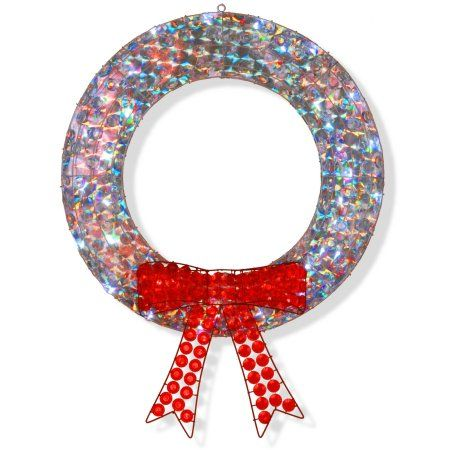 42 inch Ice Crystal Wreath with LED Lights, White