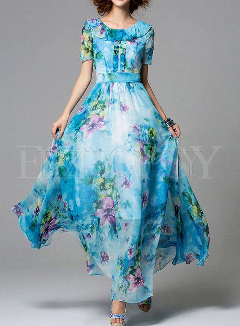Summer Bohemian O Neck Chiffon Maxi Dress Floral Print Chiffon Maxi Dress Maxi Dress Chiffon Maxi Dress [ 1066 x 787 Pixel ]
