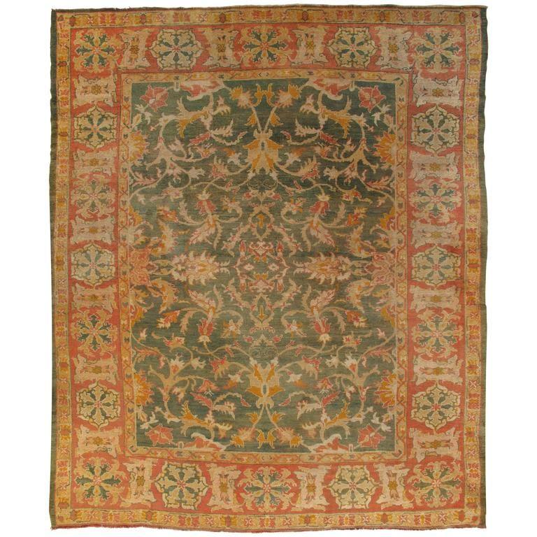 Oushak Carpet, Turkish Rugs, Handmade Oriental Rugs, Blue Green Coral Rug |  1stdibs