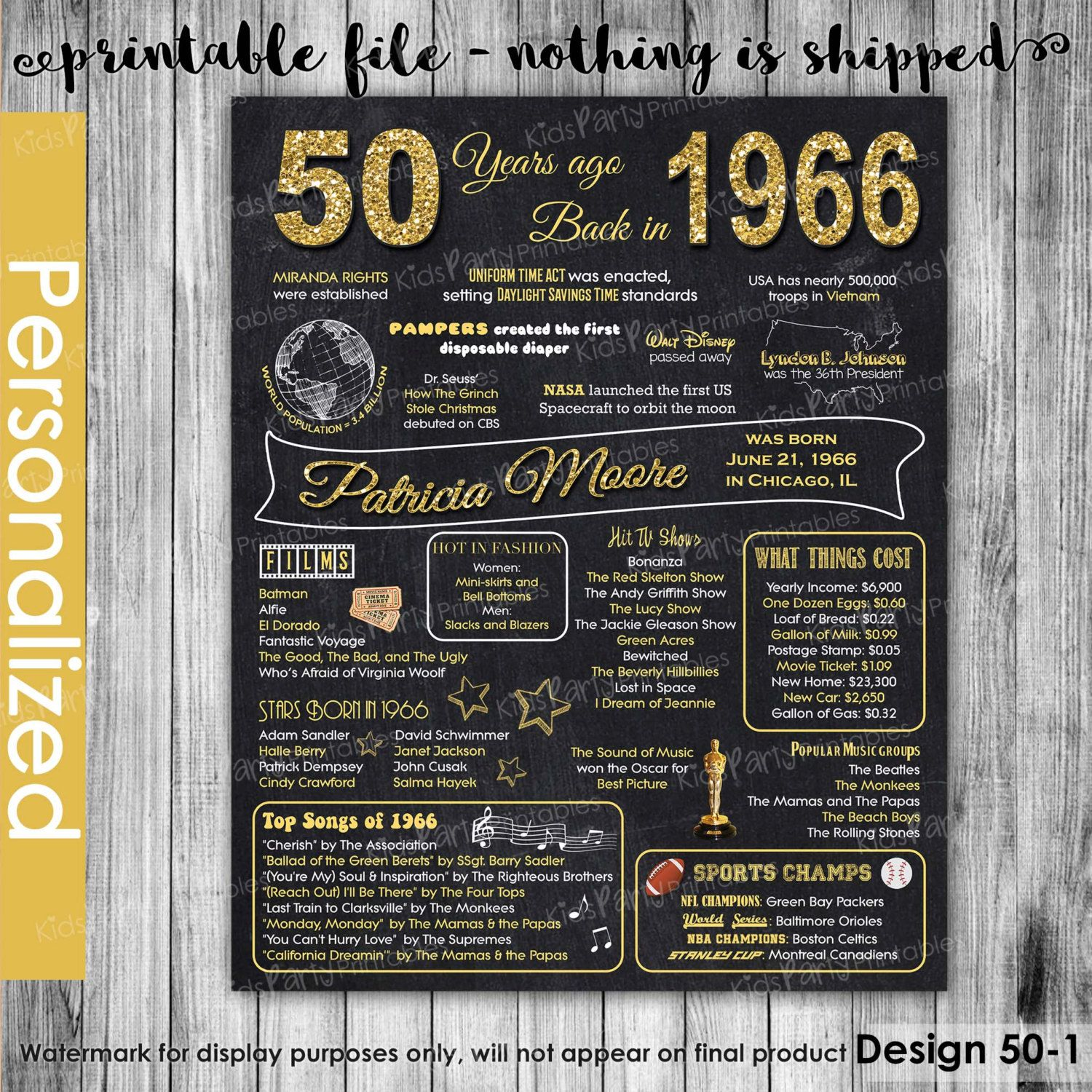 1966 Time Capsule 50th Birthday Gift For Men Or Women: 50th Birthday Chalkboard Sign Poster