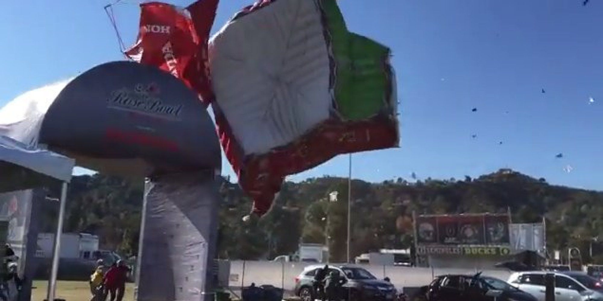 "Four people were injured after strong wings kicked up a ""Dust Devil"" at the Rose Bowl in Pasadena, California on Wednesday, KABC reported.  Video shows the spiraling wind torrents lifting several tents and sending debris into the air, int..."