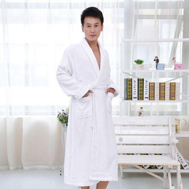 fd5c8b3cdf Cotton men bathrobe plus size nightgown sleepwear women men girls blanket  towel thickening lovers medium-long soft autumn winter