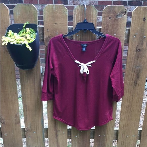 Plum lace up ribbed top Barely cropped, super cute Tops