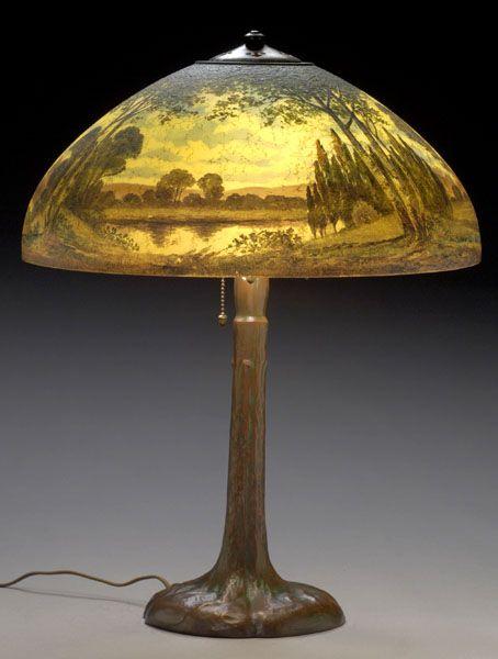 Handel Lamp Reverse Painted Landscape 6954 Cowan S Auctions Painting Lamp Shades Antique Lamps Vintage Lighting Art Nouveau Lamps