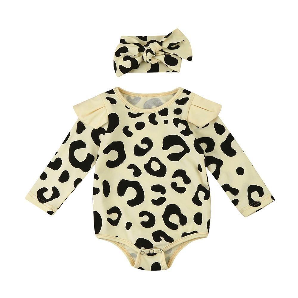 Unique Baby Girls Leopard Print Romper Headband Set