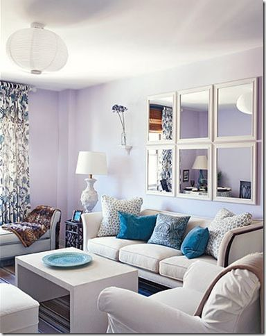 Decorative Square Mirrors Above Sofa Instead Of Gallery Wall Lavender Living Rooms Living Room Paint Paint Colors For Living Room