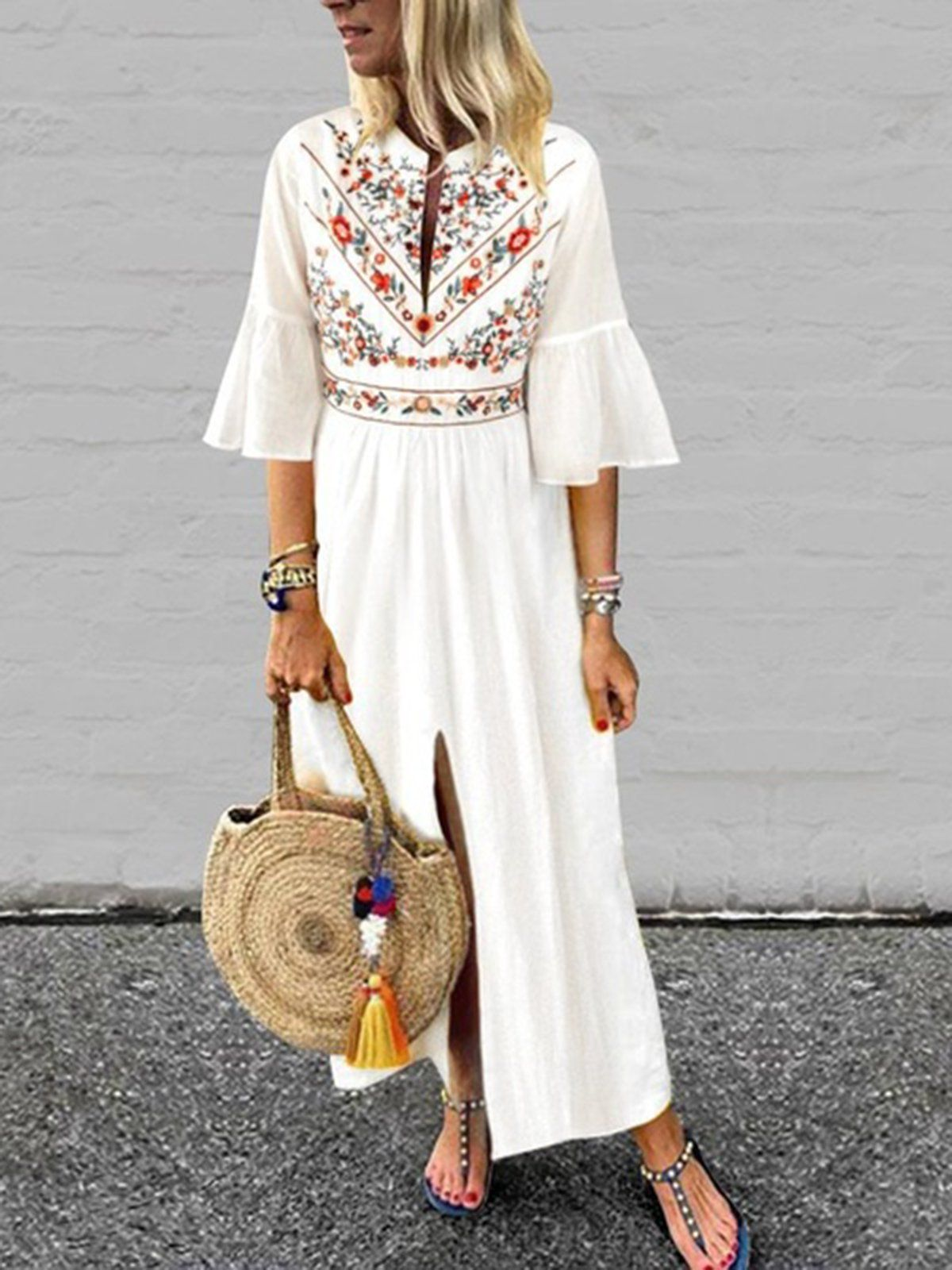 cfdb3964626 Mostata Summer Dresses Casual V Neck Floral A-Line Dress-Mostata.com
