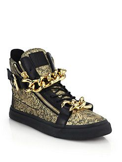 4f9def0dac480 Giuseppe Zanotti - Double-Chain Metallic Lace-Printed Leather High-Top  Sneakers<br>
