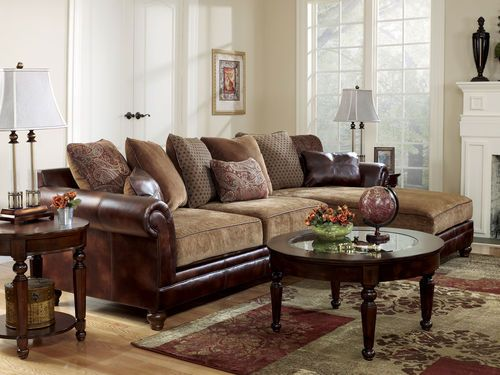 Sanders - old world faux leather u0026 chenille sofa couch sectional set living room : chenille sofa with chaise - Sectionals, Sofas & Couches