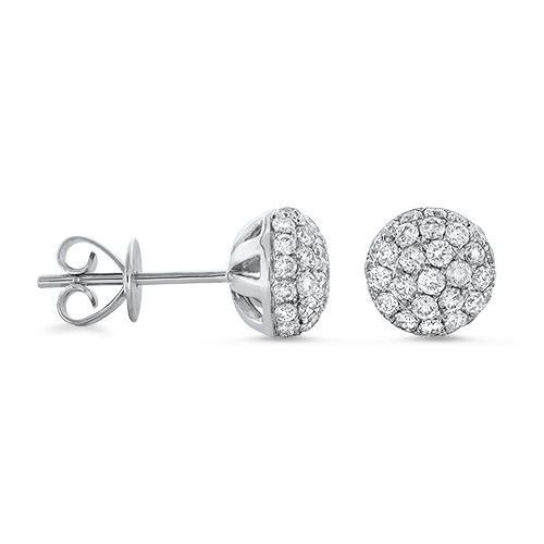 Diamond Large Dome Stud Earrings in 18k White Gold