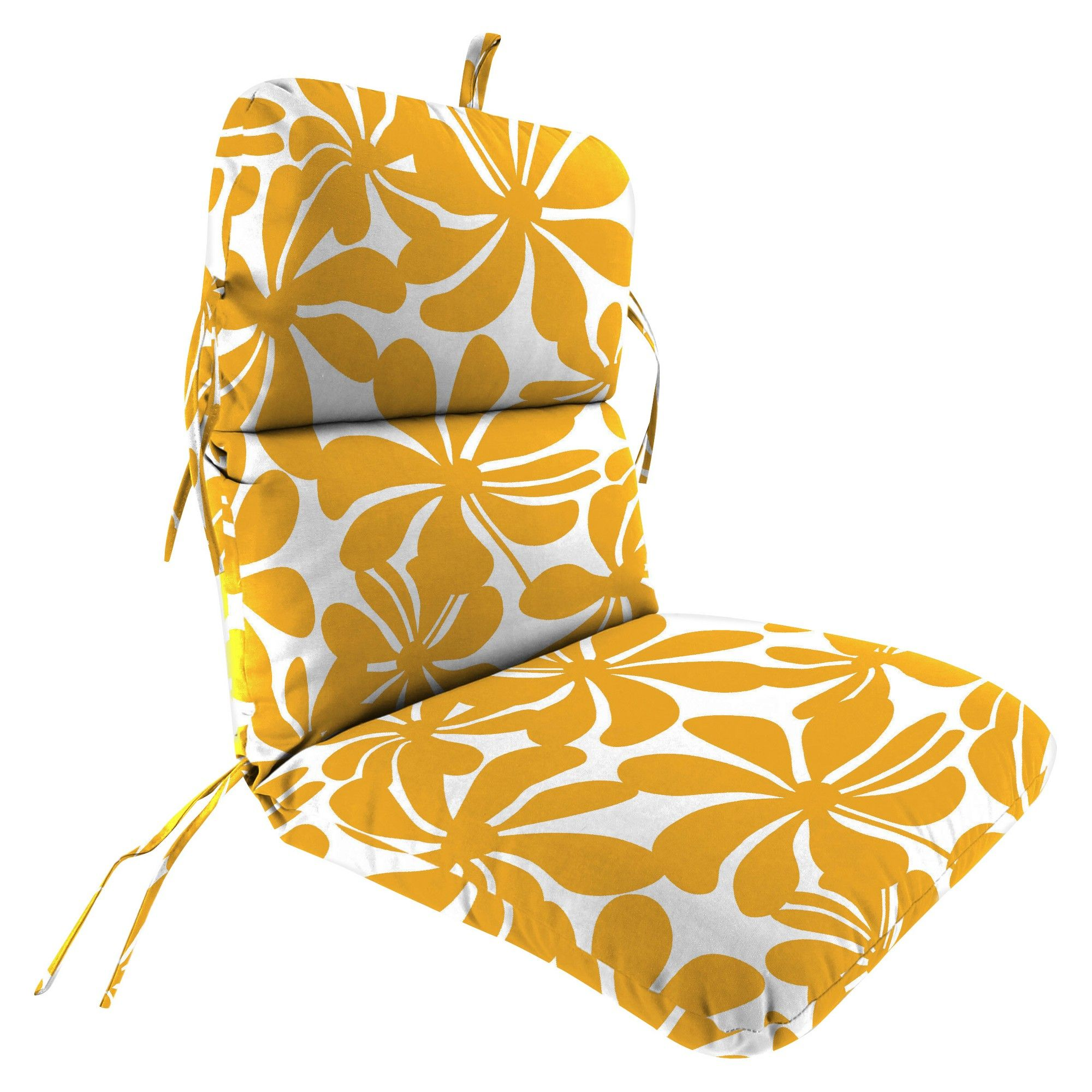 Outdoor Knife Edge Dining chair Cushion In Twirly Yellow