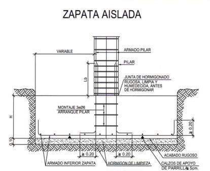 Detalle de zapata aislada autocad arq pinterest for Planos estructurales pdf