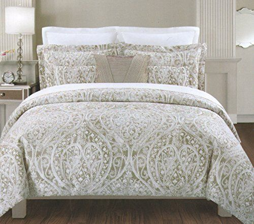 Tahari Home 3pc Duvet Cover Set Paisley Medallion Silver Grey