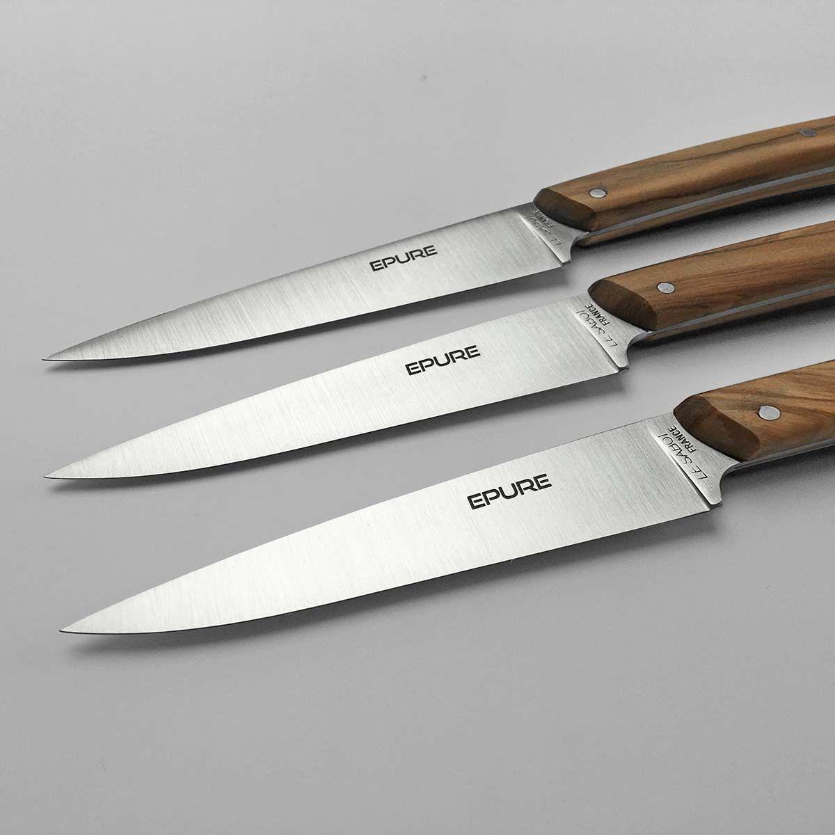 Coffret 6 Couteaux De Table Epure Bois Olivier Plein Manche Comptoir Du Couteau En 2020 Couteaux De Table Table Francaise Couteau