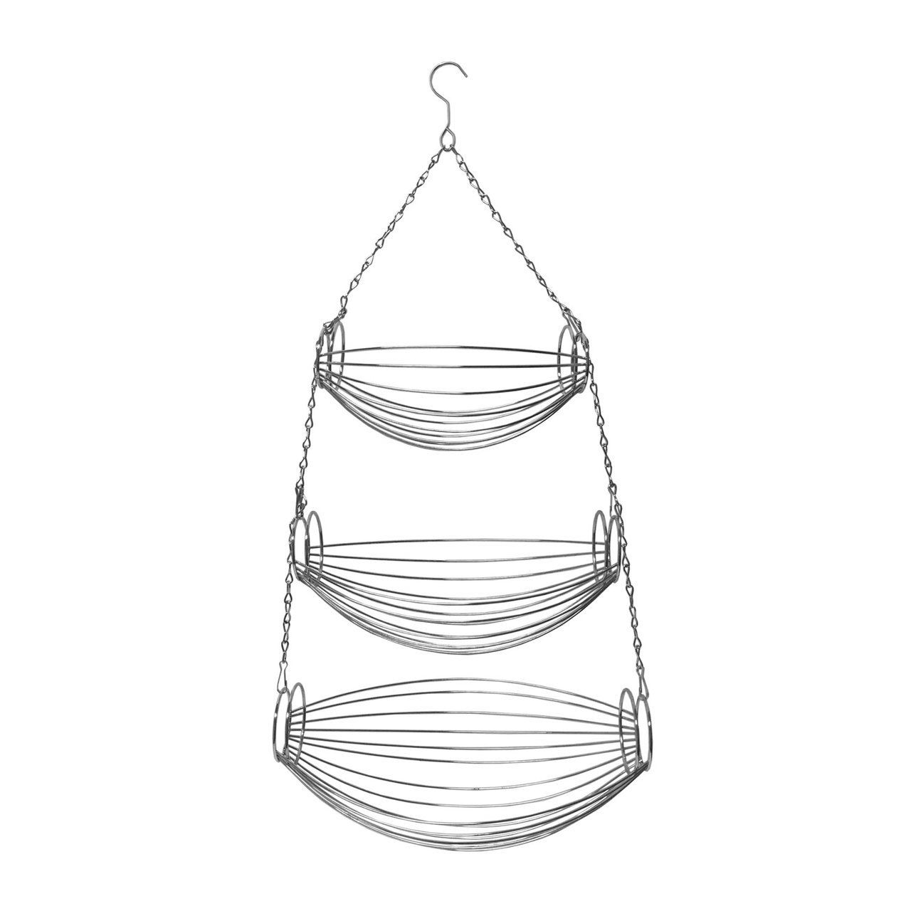 3 Tier Chrome Wire Hanging Basket Fruit Organizer Basket