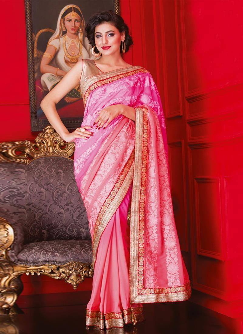 Impressive viscose patch border work designer saree the girly pink