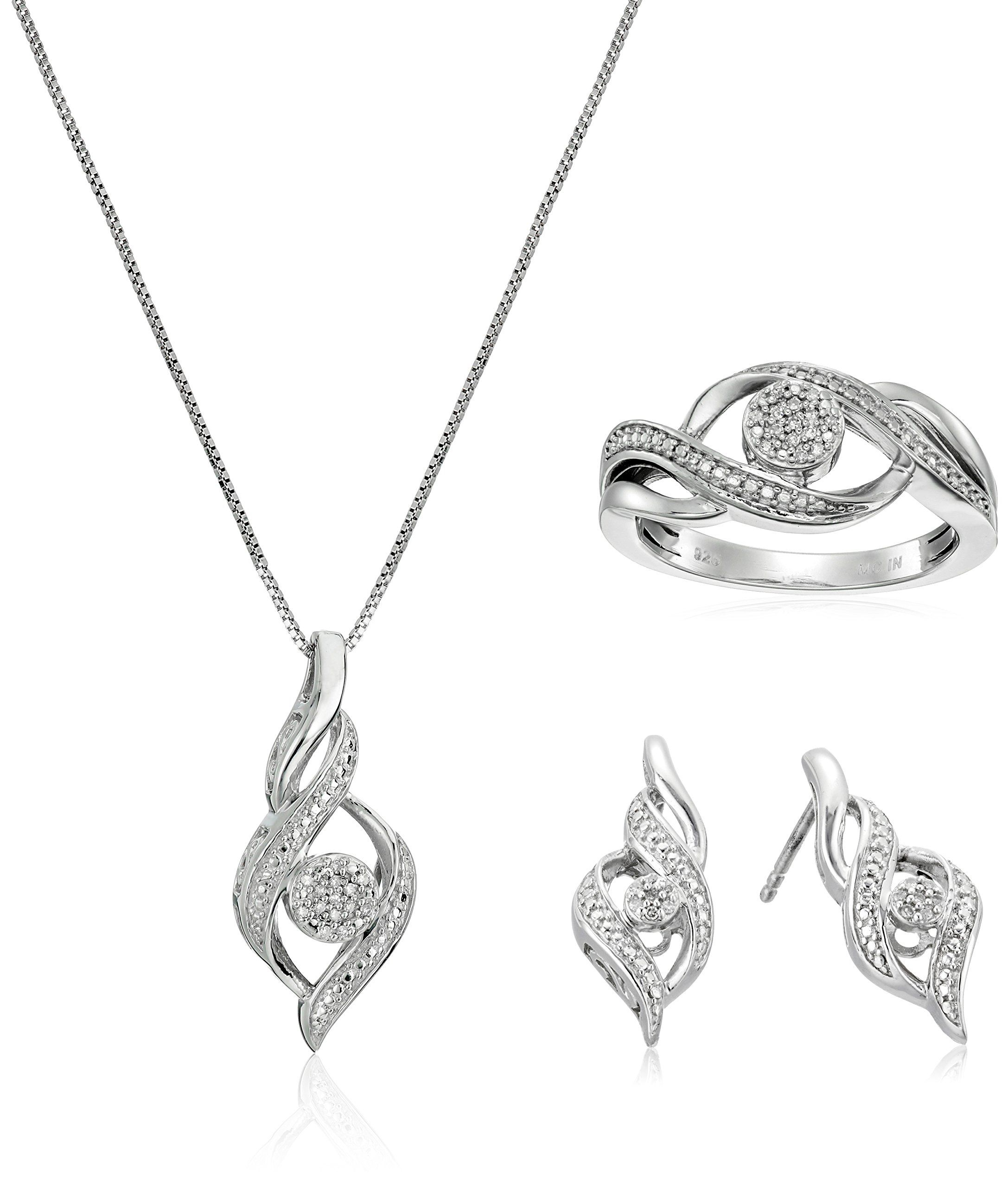 Sterling Silver Diamond Ring, Earrings, and Pendant Necklace Jewelry Set (1/8 cttw, J-K Color, I2-I3 Clarity). Classic and versatile diamond ring, pendant necklace, and earrings set perfect with everyday attire or an evening out. Exquisitely crafted in 925 sterling silver. Box chain for pendant, secure butterfly backs for earrings, size 7 ring.