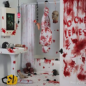 asylum bloody bath decorating idea - Halloween Bathroom Decor