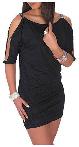 af023c630b2 Glamour Empire Femme Mini Robe club sexy oversize top dégageant les épaules  157 (Noir EU 42 44 XL)