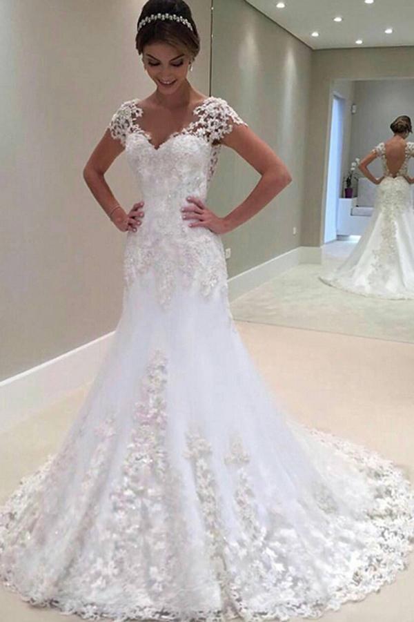 Gorgeous Long Mermaid Lace Cap Sleeve 2019 Wedding Dress Mw292 Wedding Dress Train Sweep Train Wedding Dress Bridal Dresses