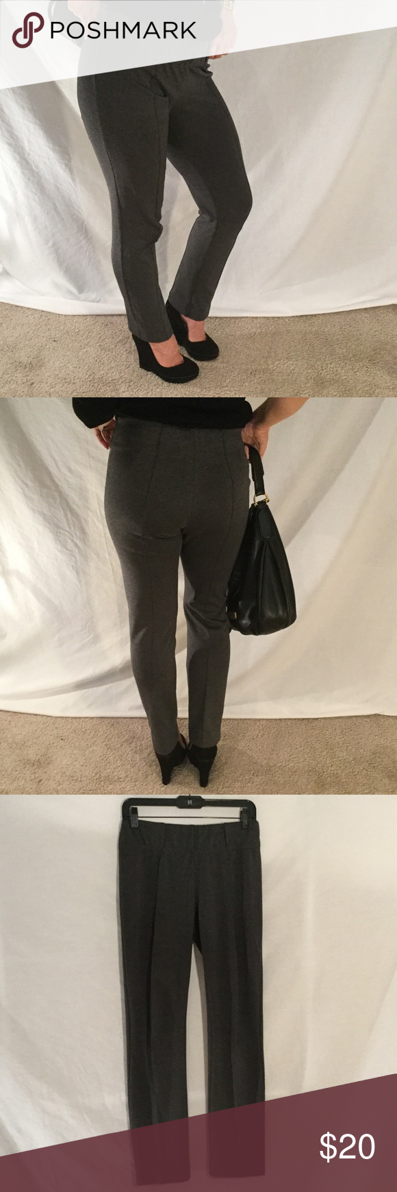 """BCBG's classic thick & PLUSH """"Pointe"""" legging sz M BCBG's signature pointe pant- but in s stretch legging! 2"""" stretch waistband makes for flattering look around waist and booty. Tapered  pant leg: 72% poly, 25% rayon, 5% spandex. M Size medium comfortably fits size 4 or 6. I'm a size six when this photo was taken. Pants are in good condition with very minimal pilling at top of waist band. Offers through offer button please and thanks❤️🙏🏻 BCBGMaxAzria Pants Skinny"""
