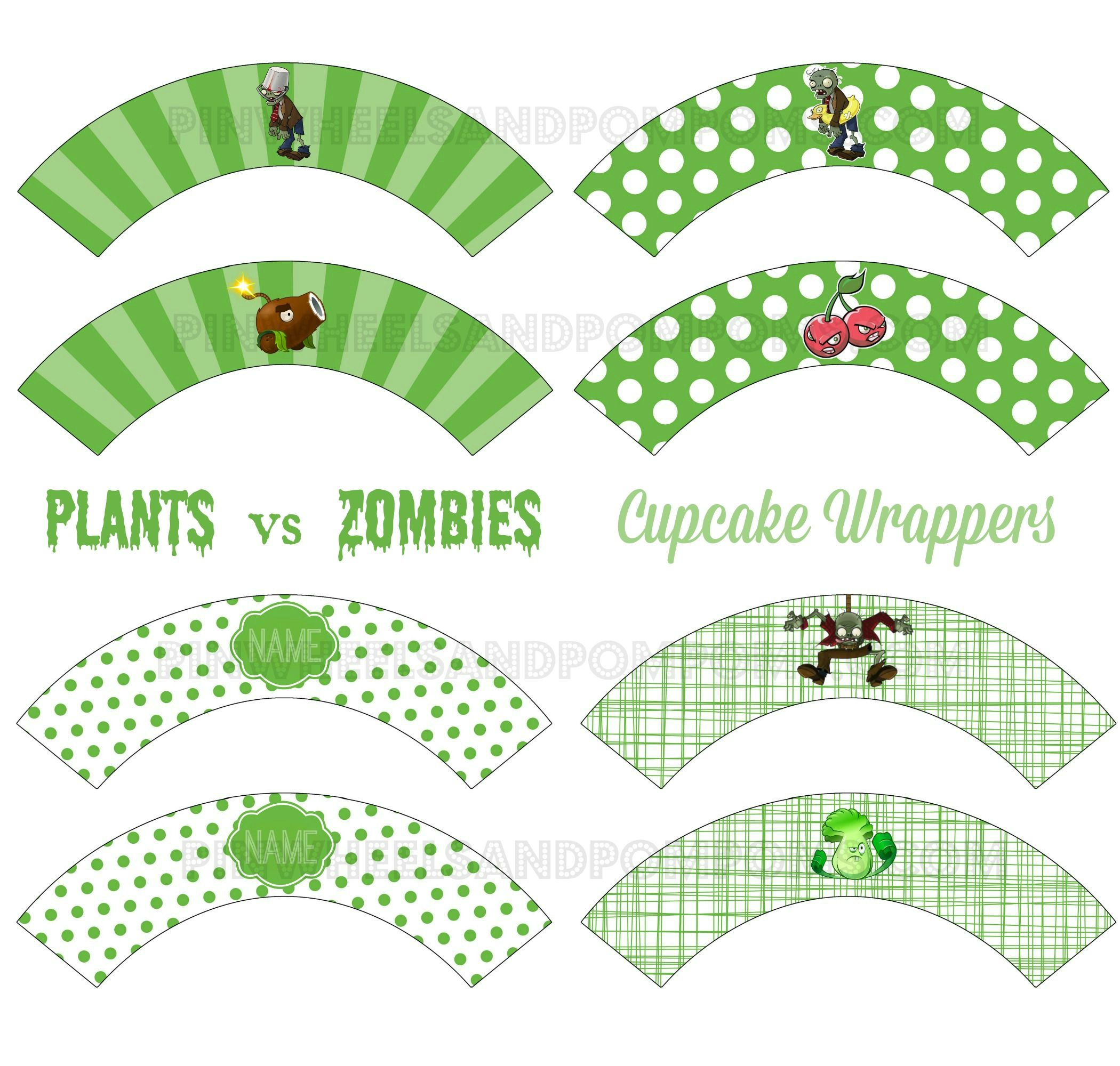 Cupcake Wrappers Plants Vs Zombies Plants Vs Zombies Plantas