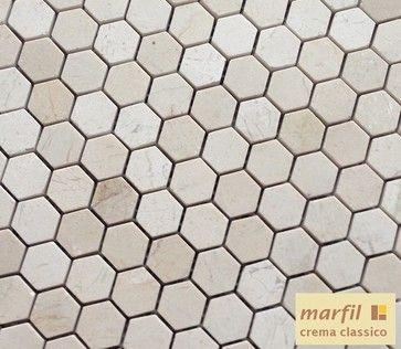 "Crema Marfil 1x1"" Hexagon Marble Mosaic Tile - traditional - bathroom tile - atlanta - thebuilderdepot.com"