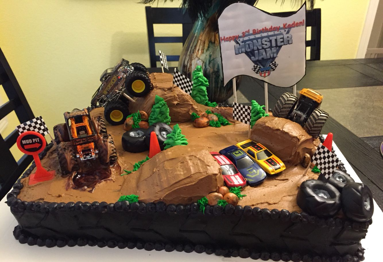 Incredible Monster Jam Cake With Images Monster Truck Birthday Cake Funny Birthday Cards Online Elaedamsfinfo