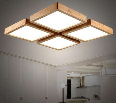 Material Other Than Wood Modern Brief Wooden Led Ceiling Light Square Minimalism Mounted Luminaire Japanese Style Lustre For Dining Room Balcony