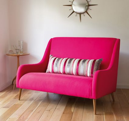 Hot Pink Sofa Oh Would Be Cute For Behind A Round Kitchen Table Instead Of Chairs