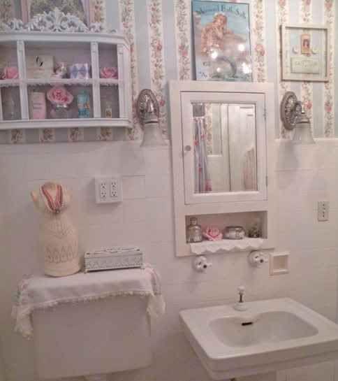 Shabby chic bathroom - love the cubby under the mirror shabby chic