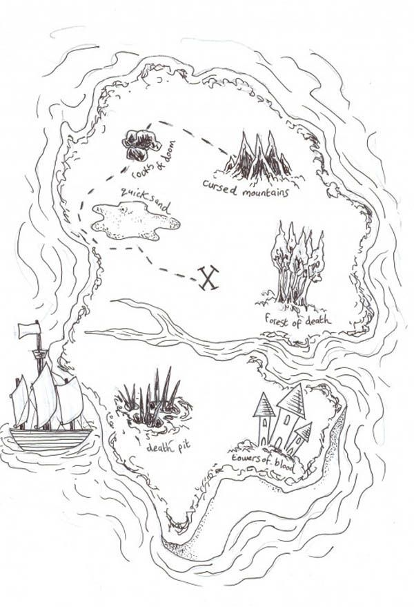 Pirate Treasure Map Coloring Pages Pirate Treasure Maps Pirate