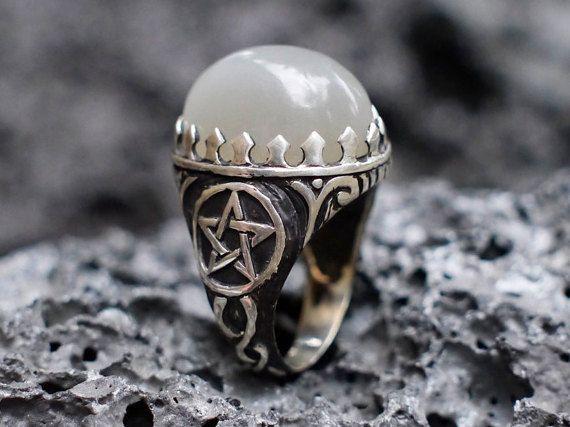 Moonstone Pentagram Ring Witch