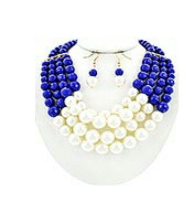 Cobalt blue and ivory pearl set